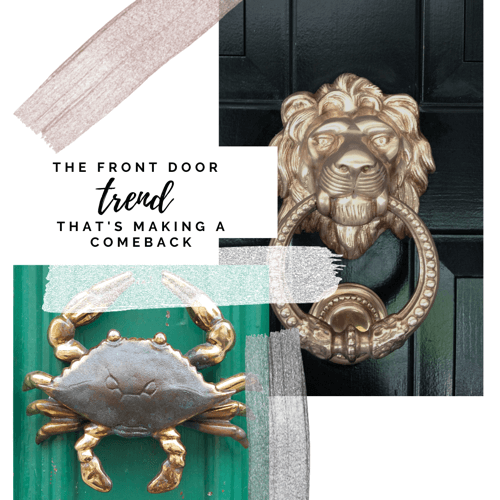 Gabriel Building Supply, Ponchatoula La. The Front Door Trend That is making a comeback shown with decorative door knockers: A Blue Crab and Gold Lion Head